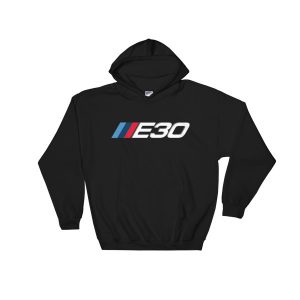 BMW E30 t-Shirt - M Sport Logo/Badge Colors - Hoodie - Black