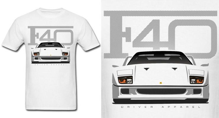 ferrari f40 shirt, ferrari shirt white