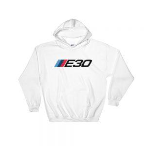 BMW E30 t-Shirt - M Sport Logo/Badge Colors - Hoodie - White