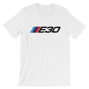 BMW E30 t-Shirt - M Sport Logo/Badge Colors - t-Shirt - White