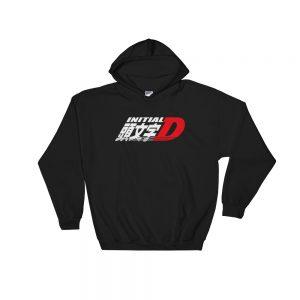 JDM Initial D Logo Hoodie- Black - Japanese Anime Street Racing