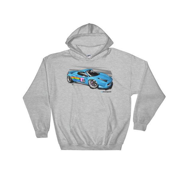 LibertyWalk/LB Performance/LB Works Deadmau5 Nyan Cat Ferrari 458 Hoodie - Sport Gray