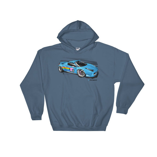 LibertyWalk/LB Performance/LB Works Deadmau5 Nyan Cat Ferrari 458 Hoodie - Steel Blue