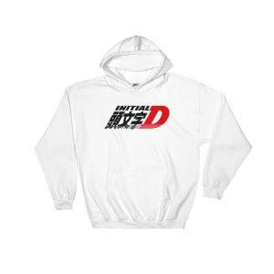 JDM Initial D Logo Hoodie-White - Japanese Anime Street Racing